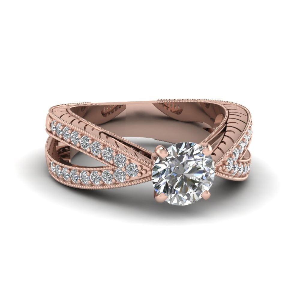 Round Cut Pave Vintage Style Split Shank Diamond Engagement Ring In 14K Rose Gold