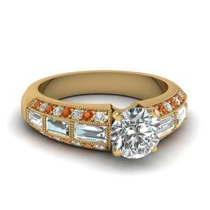 Antique Baguette Round Diamond Engagement Ring With Orange Sapphire In 14K Yellow Gold