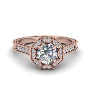 Round Cut Antique Two Tone Diamond Wedding Ring In 14K Rose Gold