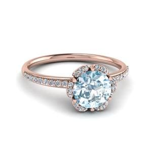 14K Rose Gold Halo Aquamarine Ring