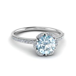 Floral Aquamarine Engagement Ring