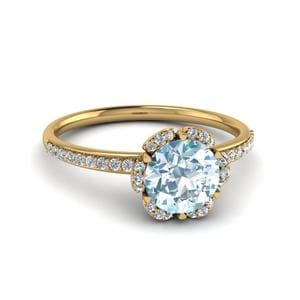 Halo Floral Ring 18K Yellow Gold