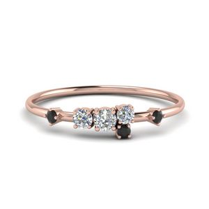 Asymmetrical Black Diamond Ring