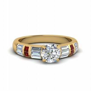 Round Cut Ring With Princess Ruby