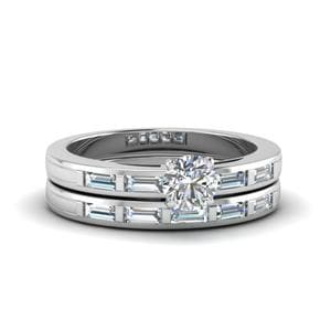 Round Cut Bar Baguette Diamond Simple Wedding Ring Set In 18K White Gold
