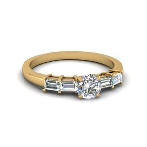 Round Cut Basket Prong Baguette Diamond Engagement Ring In 14K Yellow Gold