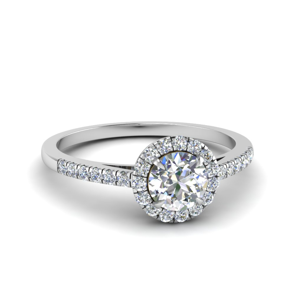 Round Cut Beautiful French Pave Halo Diamond Engagement Ring In 18K White Gold