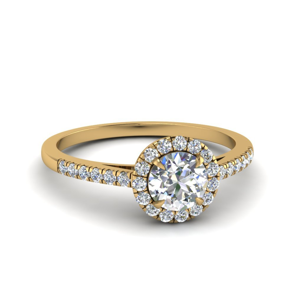 Round Cut Beautiful French Pave Halo Diamond Engagement Ring In 18K Yellow Gold