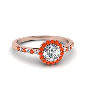 Orange Topaz Pave Halo Ring