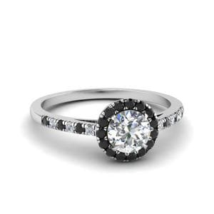 Halo Pave Black Diamond Ring