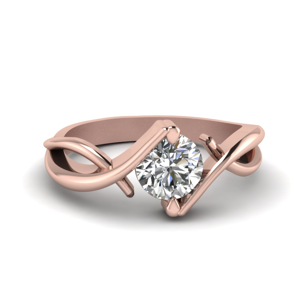 Beautiful Twist Single Diamond Engagement Ring In 14K Rose Gold