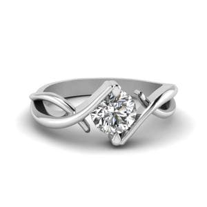 Beautiful Twist Single Diamond Engagement Ring In 14K White Gold