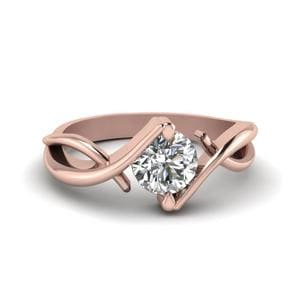 Beautiful Twist Single Diamond Engagement Ring In 18K Rose Gold