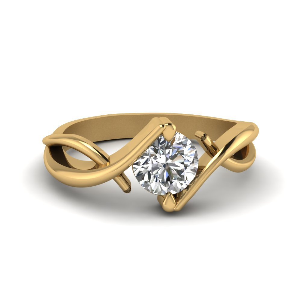 Beautiful Twist Single Diamond Engagement Ring In 18K Yellow Gold