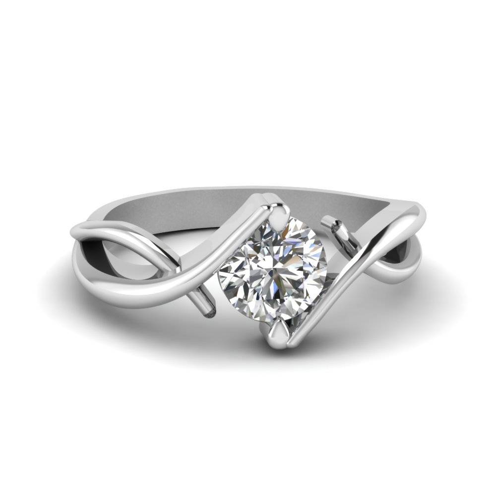 Beautiful Twist Single Diamond Engagement Ring In 950 Platinum