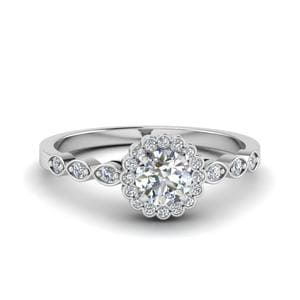 Bezel Halo Delicate Diamond Ring