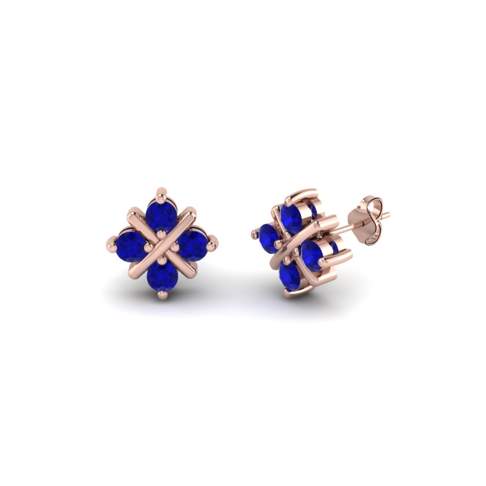 Round Cut Blue Sapphire Stud Earrings In 14K Rose Gold