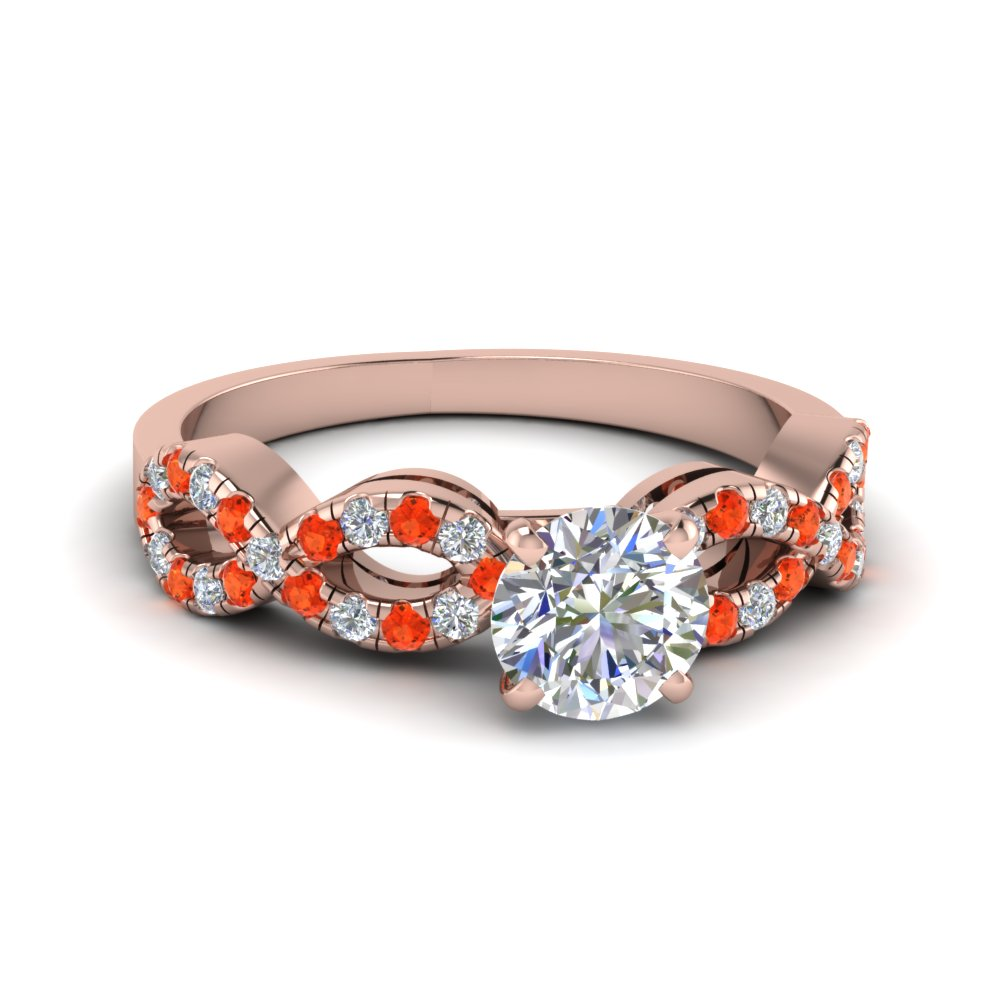 Round Cut Braided Diamond Engagement Ring With Orange Topaz In 14K Rose Gold