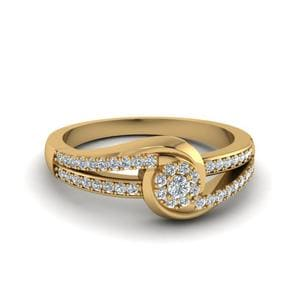 Round Cut Bypass Cluster Diamond Ring In 14K Yellow Gold
