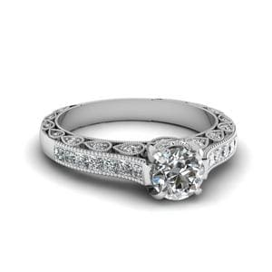 Round Cut Cathedral Setting Vintage Style Diamond Ring In 14K White Gold
