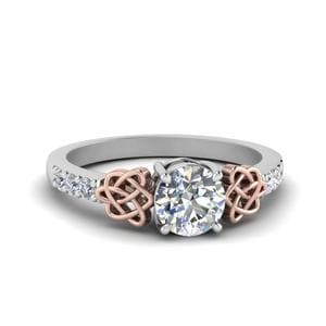 Round Cut Celtic Diamond Ring In 14K White Gold