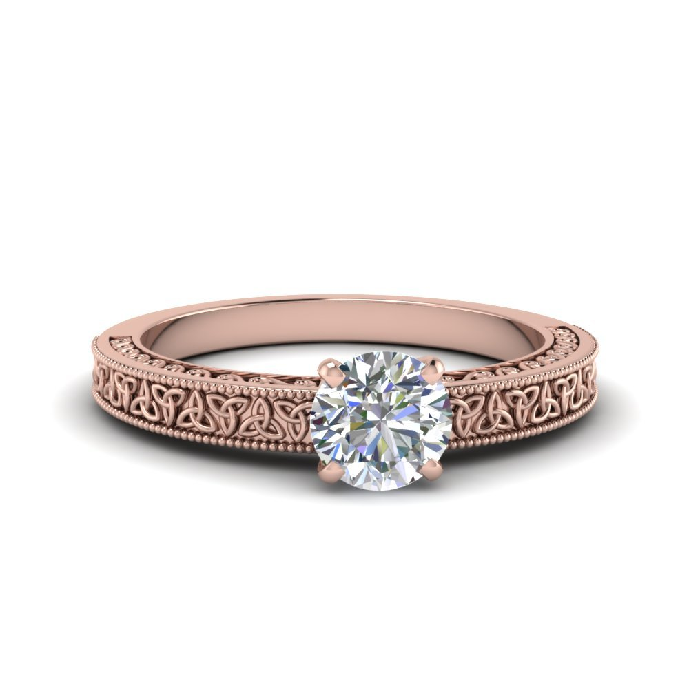 Round Cut Celtic Engraved Solitaire Ring In 14K Rose Gold