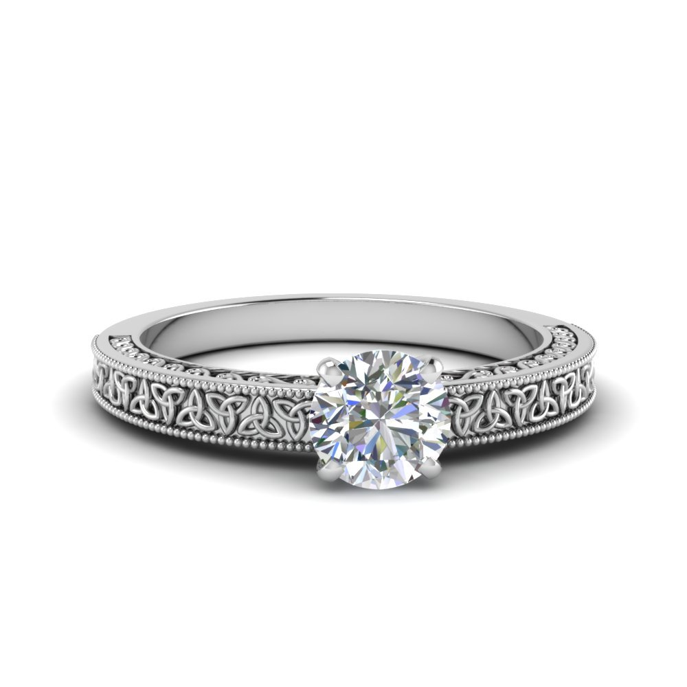 Celtic Engraved Round Cut Solitaire Ring