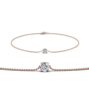 Round Diamond Chain Bracelet In 14K Rose Gold