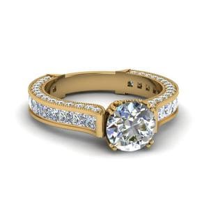 Channel And Pave Diamond Ring