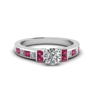 Round Cut Channel Bar Set Diamond Engagement Ring For Women With Pink Sapphire In 14K White Gold