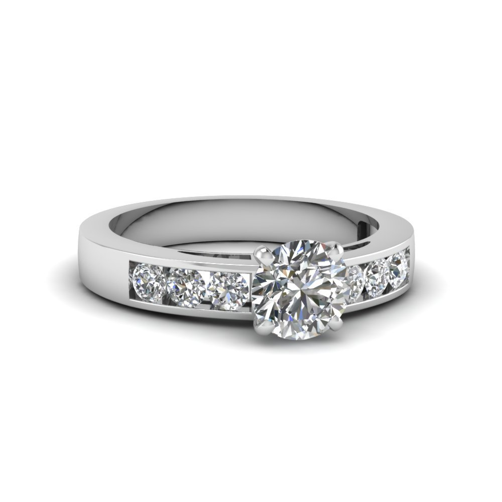 Round Cut Channel Set Diamond Engagement Ring In 14K White Gold