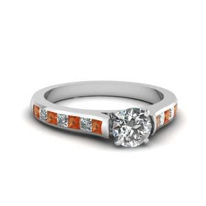 Round Cut Cathedral Channel Set Diamond Engagement Ring With Orange Sapphire In 14K White Gold