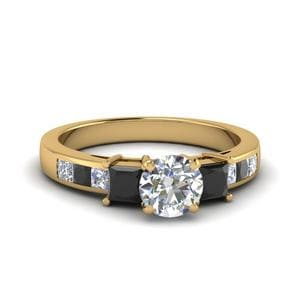Black Diamond Ring 3 Stone