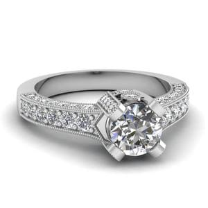 Round Cut Crown Diamond Antique Vintage Engagement Ring In 14K White Gold
