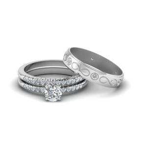 Trio Matching Wedding Set For Him And Her