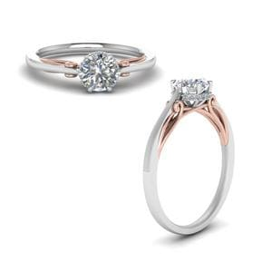 Round Cut Delicate 2 Tone Diamond Ring In 14K White Gold