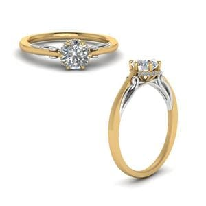 Round Cut Delicate 2 Tone Diamond Ring In 18K Yellow Gold