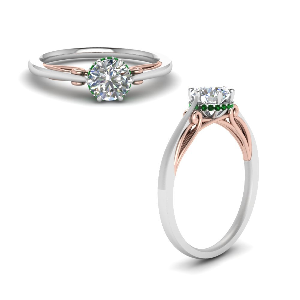 Round Cut Delicate 2 Tone Diamond Ring With Emerald In 18K White Gold
