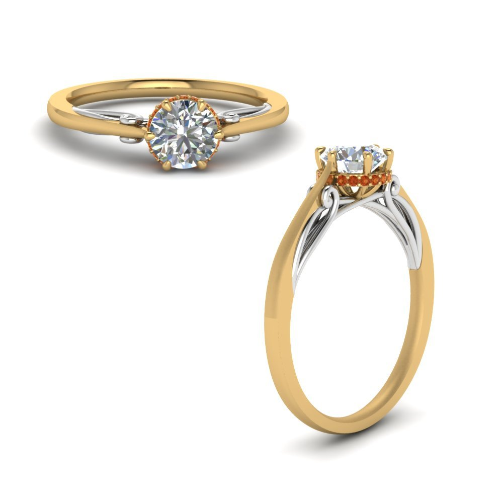 Round Cut Delicate 2 Tone Diamond Ring With Orange Sapphire In 14K Yellow Gold