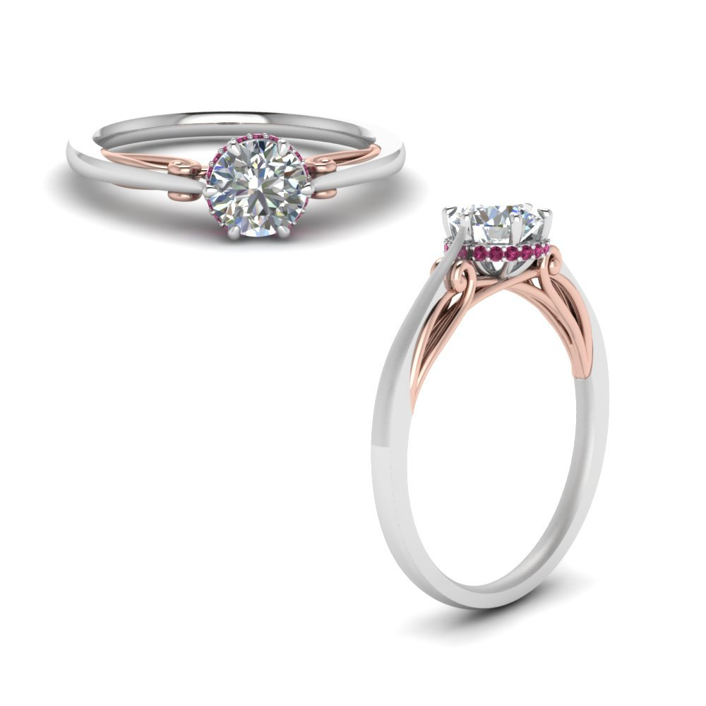 Round Cut Delicate 2 Tone Diamond Ring With Pink Sapphire In 14K White Gold