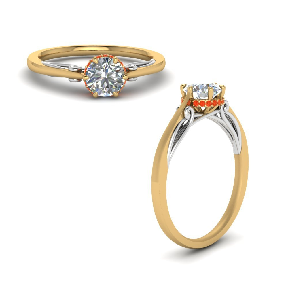 Round Cut Delicate 2 Tone Diamond Ring With Poppy Topaz In 14K Yellow Gold