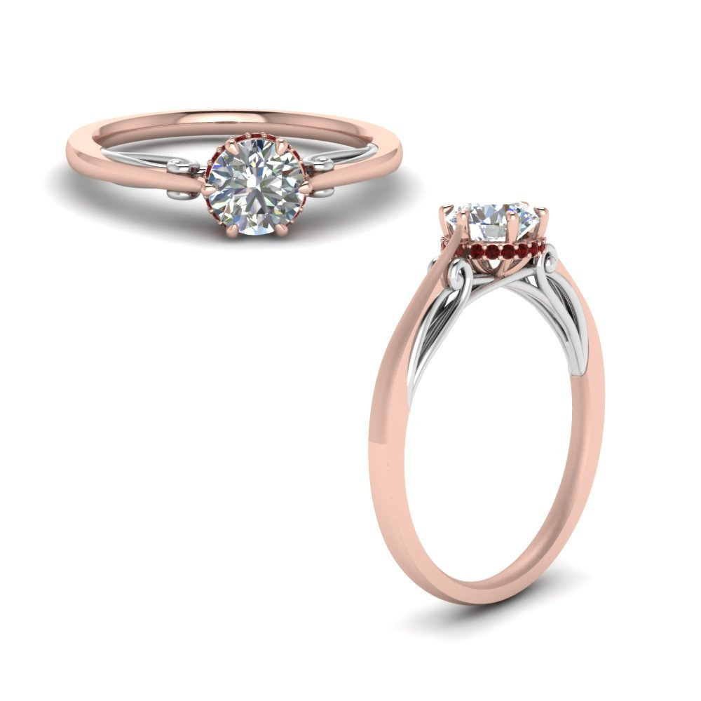 Round Cut Delicate 2 Tone Diamond Ring With Ruby In 18K Rose Gold