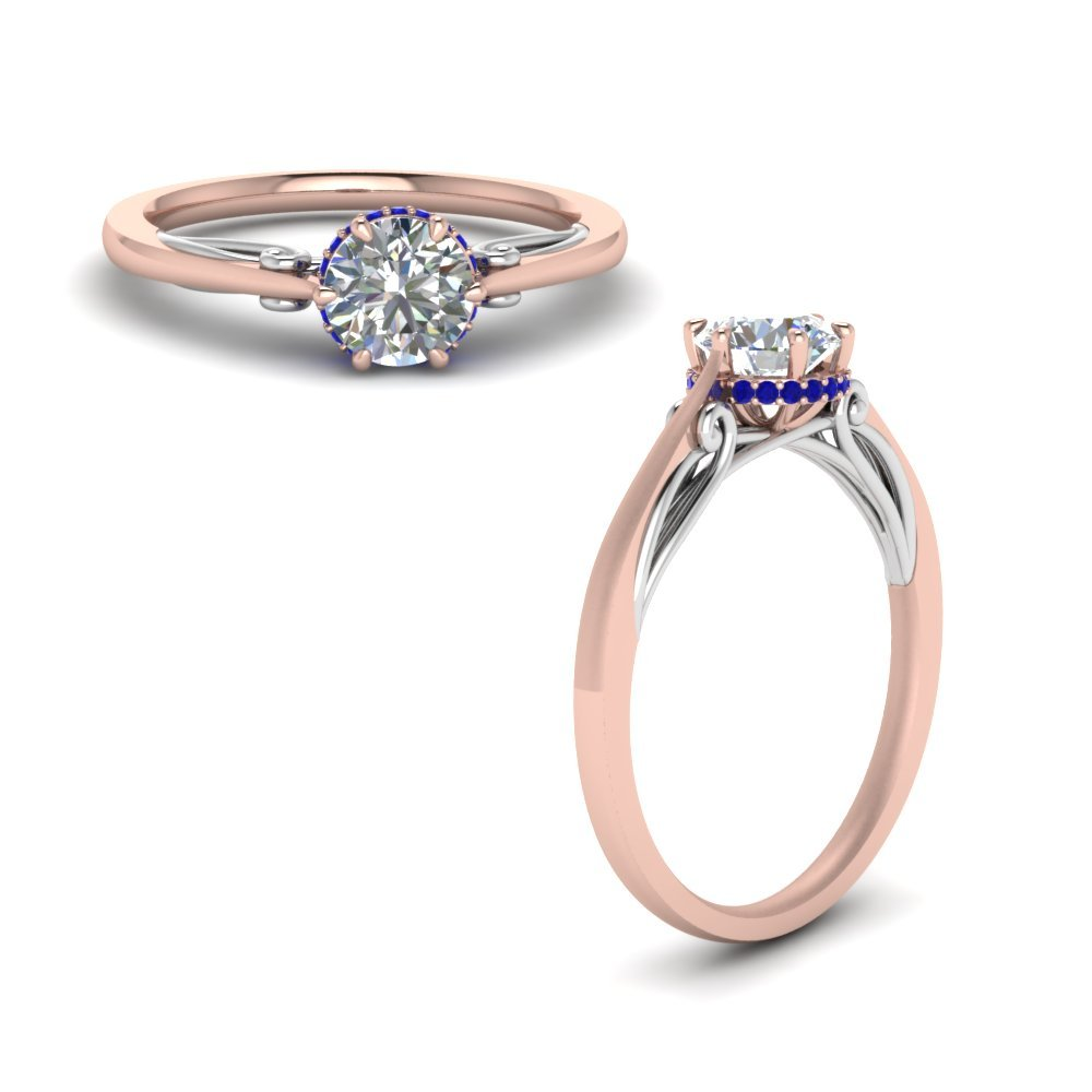 Round Cut Delicate 2 Tone Diamond Ring With Sapphire In 14K Rose Gold