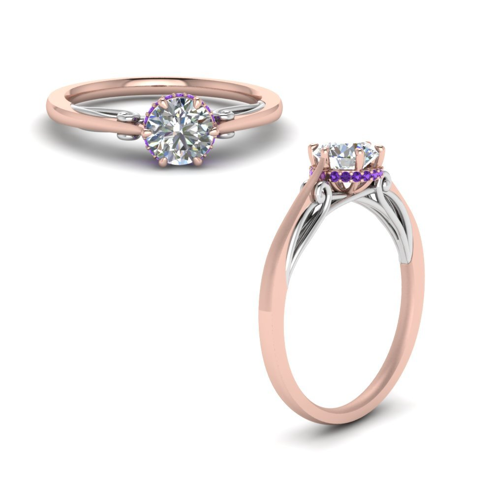 Round Cut Delicate 2 Tone Diamond Ring With Violac Topaz In 14K Rose Gold