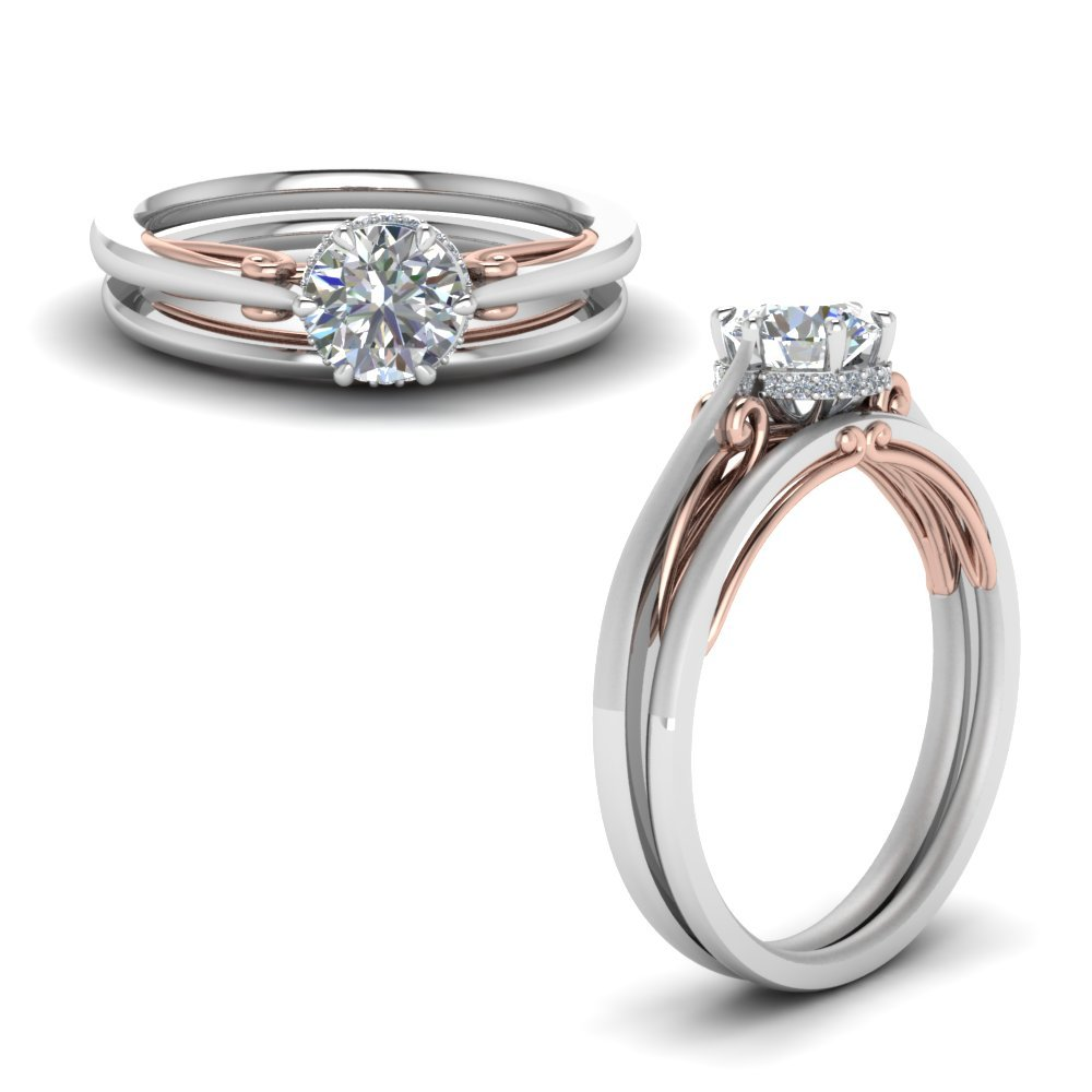 Round Cut Delicate 2 Tone Diamond Wedding Set In 14K White Gold