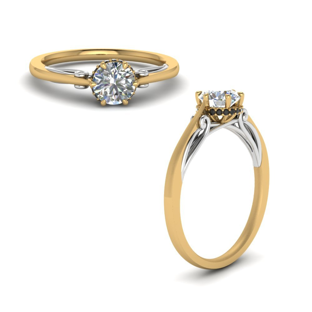 Round Cut Delicate 2 Tone Ring With Black Diamond In 18K Yellow Gold