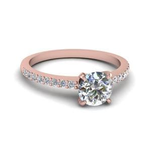 Round Cut Delicate Diamond Engagement Ring In 14K Rose Gold