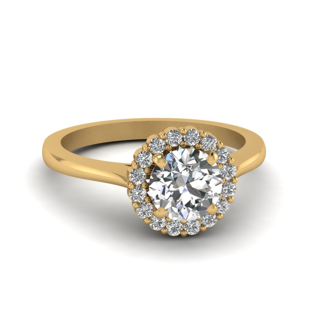 Round Cut Delicate Diamond Ring With Halo In 18K Yellow Gold