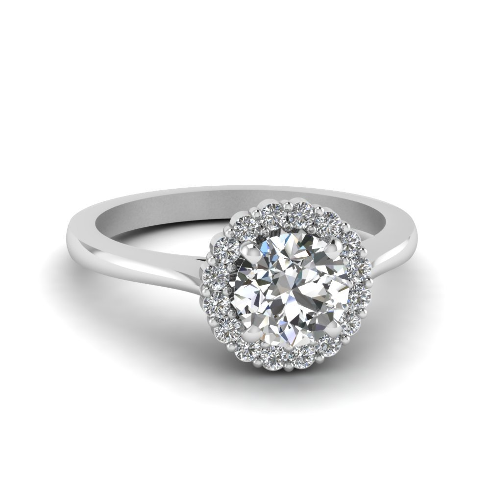 Round Cut Delicate Diamond Ring With Halo In 950 Platinum