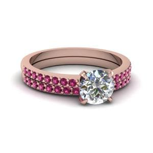 Rose Gold Pink Sapphire Wedding Set